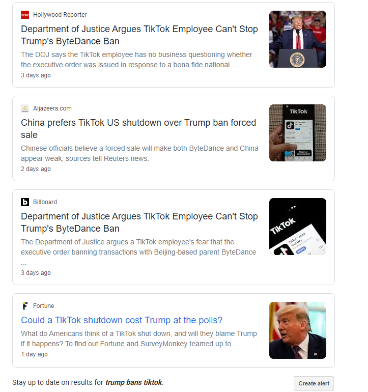 "screenshot of google search for ""Trump bans tiktok"""